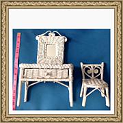 Vintage Fancy Wicker Doll Mirrored Vanity & Chair