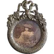 Antique Brooch Doll Jewelry Accessory Pendant w Child Photograph