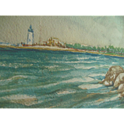 1947 Orig Cape Ann Gloucester Lighthouse Seascape Painting signed Charles Hoyle