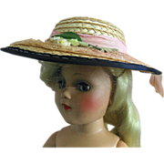 SALE Vintage Toni Mary Hoyer Size Pink Doll Straw Hat with Flowers