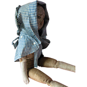 Antique Izannah Walker Style Hand Sewn Child Doll Prairie Bonnet Hat Blue & White Gingham Chec