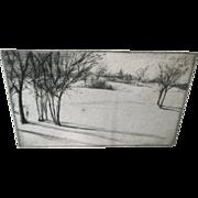 William W.H.W. Bicknell Landscape Snow Scene Etching Cape Ann Artist