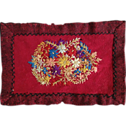 """Antique 8"""" Folk Art Flower Embroidered Feather Stitched Wool Dollhouse Doll Rug"""