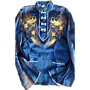Elaborate Vintage Chinese Label Silk Raised Gold Thread Blue Dragon Shirt Skirt