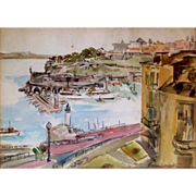 Vintage Impressionistic MONTE CARLO Yacht Harbor Art Painting signed