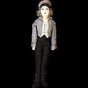 "SOLD Unique 27"" Hotel Bellhop Boudoir Cloth Bed Doll Boy Doll perhaps"