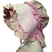 A+ Antique 1860s Pink Calico Prairie Bonnet Hat