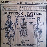 1919 Vintage Bo Peep Butterick Halloween Costume perhaps Sewing Dress Pattern
