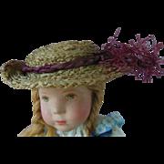 Antique Raffia Straw French German Doll Hat with Plum Tassel