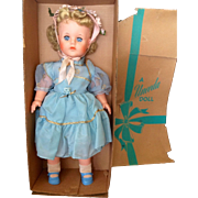 SOLD Vintage 1960s CATHY Uneeda Doll in Party Dress & Flower Bonnet in Original Box