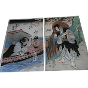 SOLD A+ 1st Edition Kuniyoshi Japanese Landscape Boat Beauty Woodblock Diptych Print