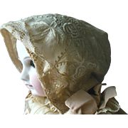 Antique French Bebe Jumeau Raised Floral Embroidery Lace Doll or Baby Bonnet
