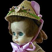 "1950s Fancy 8"" Muffie Vogue Ginny Alexander Kins Ginger Straw Doll Hat in Box"