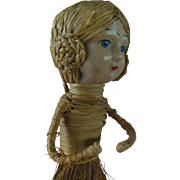 Antique Celluloid Doll Clothes Crumb Brush with Lovely Coiled Braids