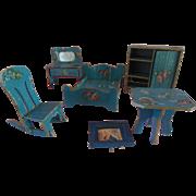 Antique Dollhouse Painted Furniture Bedroom 6Pc Miniature Set