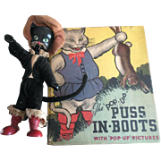 SOLD 1934 Puss and Boots Pop Up Book & Schoenhut Dressed Wood Puss & Boots Cat Doll Figure
