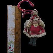 Antique Cloth Wood Dollhouse Miniature Doll Christmas Ornament