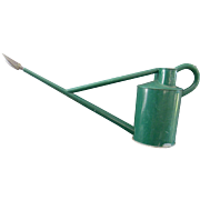 Vintage Haws Garden Watering Can in Old Green Paint with Long Brass Water Spout