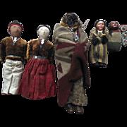 SALE PENDING Skookum American Indian Doll Apple Head Cloth Beaded Papoose Old Vintage Doll Lot