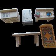 Kage Schoenhut Type Dollhouse Kitchen Stove Sink Refrigerator Table Clock etc Vintage Wood Lot