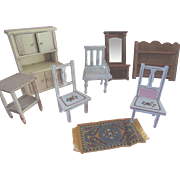 Dollhouse Cupboard Painted Wood Chairs Mirror Hall Tree Pantry Shelf Miniature Furniture Vinta