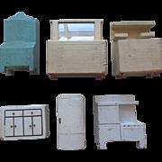 Vintage Kage Schoenhut Type Wood Dollhouse Furniture 6Pc Lot