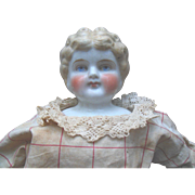 "Antique ABG China Head 22"" Doll Original Dress Red Cheeks for parts or repair An Exceptio"