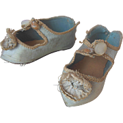Antique FRENCH Blue Silk Doll Shoes Pom Pom Toes