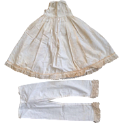 Old Papier Mache China French German Bisque Large Doll Lace Slip & Undies Set