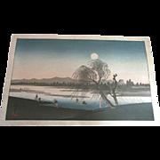 Antique Hiroshige Woodblock Print Full Moon Evening Landscape
