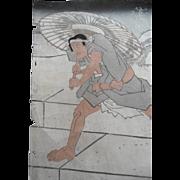 Antique Kunisada Japanese Woodblock Parasol Print