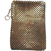 Vintage Whiting & Davis Gold Mesh Zippered Cigarette Case with Original Tag 1940's-1950's
