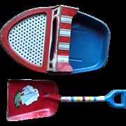 Vintage Ohio Art Sand Sifter Tin Boat & Shovel Beach Toy