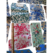 Antique French Toile Fabric Sample Lot some with original paper labels