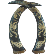 Vintage Hand Carved Chinese Japanese Glass Eyed Dragon Peacock Bird Water Buffalo Horn Pair