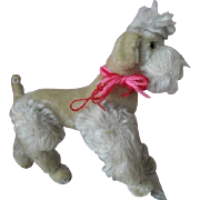 """1950s 9"""" Steiff Poodle Dog Jointed Limbs Glass Eyes Vintage Toy"""