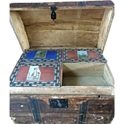 Antique French German Hump Doll Trunk