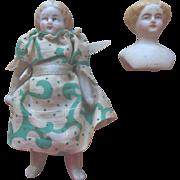 (2) Antique Parian Dollhouse Dolls in original clothes
