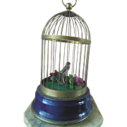 Vintage Mechanical Singing Bird Cage Gold with Blue Enamel Base