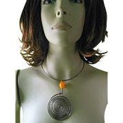 Vintage Modern Contemporary Art Silver Amber Color Bead Necklace with Pendant