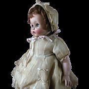 Vintage 1953 Madame Alexander Rosebud Baby Doll Auburn Hair in Original Tagged Organdy Lace Ou