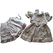 Antique French German Lace Doll Dress & Original Lacy Slip with Ruching