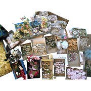 Vintage Millinery Hat Flowers 20+ Box Lot silk velvet Flowers & Corsages from Millinery Shop 1