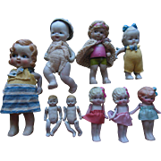 Old Vintage Bisque Doll (9) Dollhouse Doll Box Lot