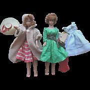 Vintage 1960s Barbie & Midge Titan Dolls with Wardrobe like new condition