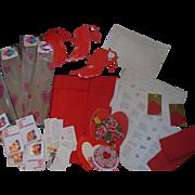Vintage Dennison Valentine Heart Crepe Paper Party Decorations Valentines etc Box Lot