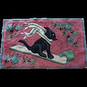 Old Folk Art Labrador Dog Hand Made Hooked Area Rug