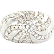 Estate 14K White Gold Diamond Dome Cocktail Ring