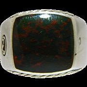Estate Men's David Yurman Sterling Silver Bloodstone Signet Ring