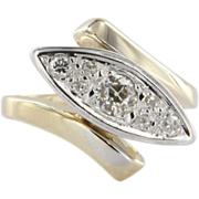 Vintage 14k Two Tone Gold Mine Cut Diamond Cocktail Ring